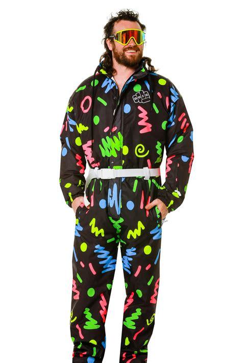 80s ski wear multicolor squiggles ski suit 80s print retro ski suit