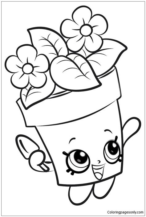 Coloring Page Flower Pot by Flower Pot Shopkins Coloring Page Free Coloring Pages