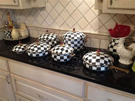 mackenzie childs kitchen ideas mackenzie childs courtly check pots and pans beautiful
