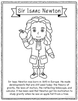biography of isaac newton book pdf sir isaac newton coloring page craft or poster stem