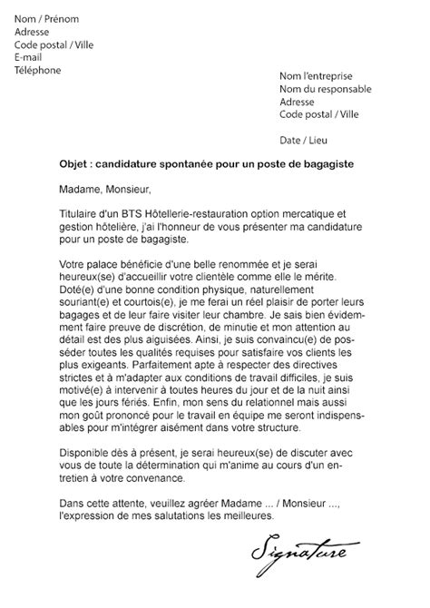 Lettre De Motivation Candidature Spontanée Hotellerie Restauration Lettre De Motivation Bagagiste H 244 Tel Mod 232 Le De Lettre