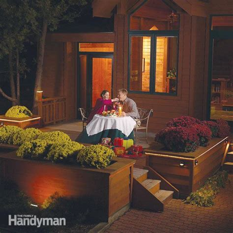 installing outdoor lighting how to install deck lighting family handyman