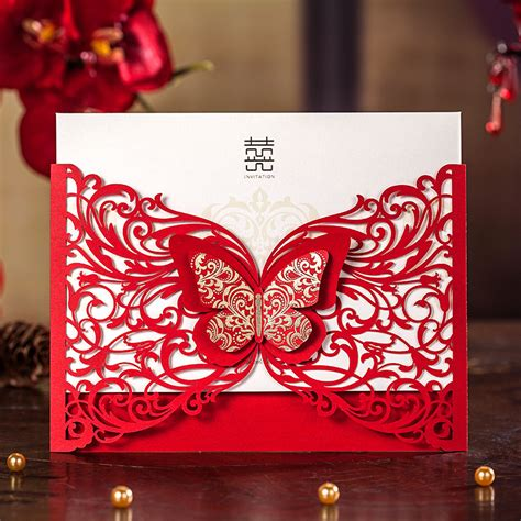 invitation card design red 3d butterfly laser design red wedding invitation card