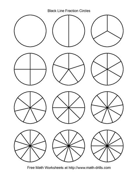 fractions worksheet blackline fraction circles small