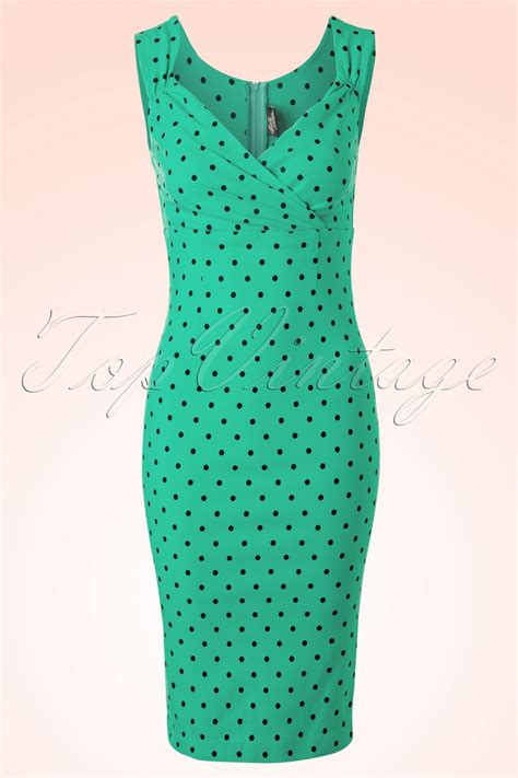 50s polkadot pencil dress in mint green