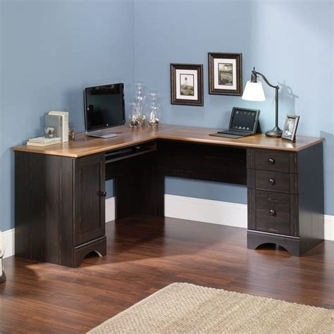 sauder harbor view computer desk corner computer desk in antiqued paint 403794
