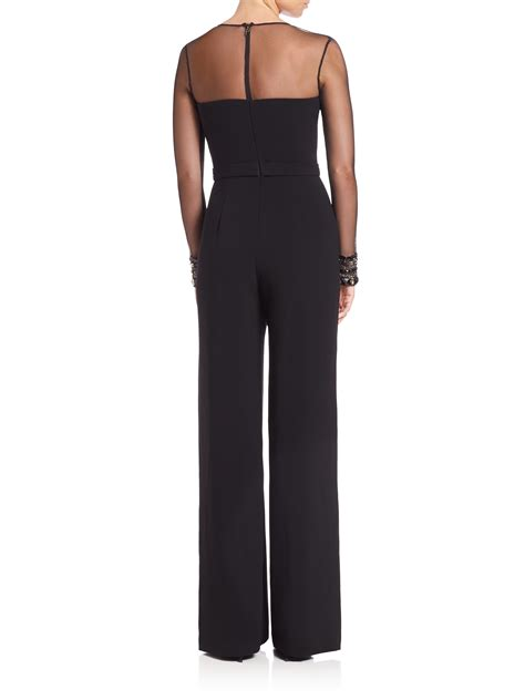 beaded jumpsuit lyst pamella roland beaded crepe jumpsuit in black