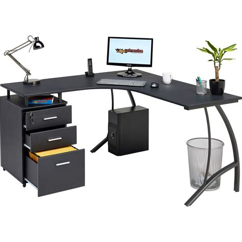 black computer corner desk large corner computer desk a4 filing drawer for home
