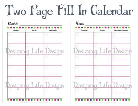 printable calendar pages 8 best images of 2 page monthly calendar printable 2016