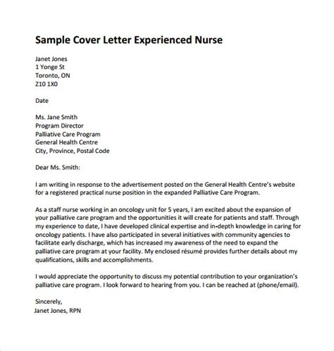 Cover Letter Template Pdf by Nursing Cover Letter Template 9 Free Sles Exles