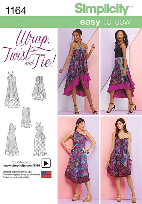sewing pattern magic wrap skirt simplicity 1164 misses double layer wrap skirt