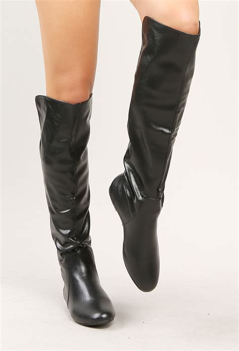 faux leather knee high boots shop shoes at papaya clothing
