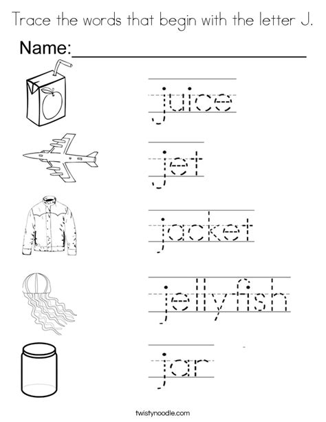color that starts with the letter j trace the words that begin with the letter j coloring page