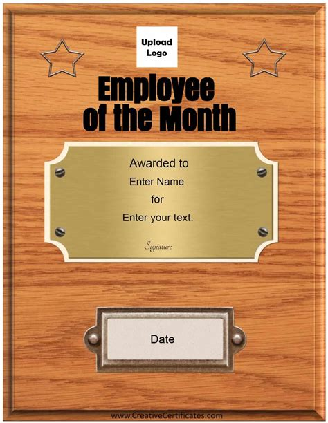 Free Custom Employee Of The Month Certificate Award Plaque Template