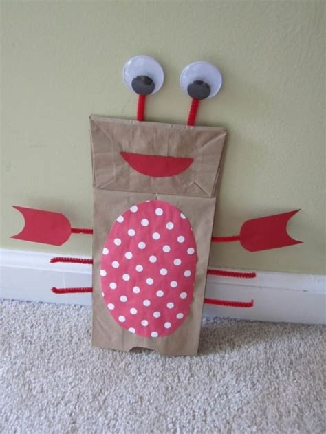 Paper Bag Craft Ideas - crab theme co op ideas paper puppets