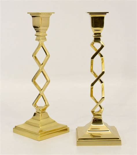 Brass Candle Holders 12 Quot Polished Brass Open Work Brass Taper Candle Holder