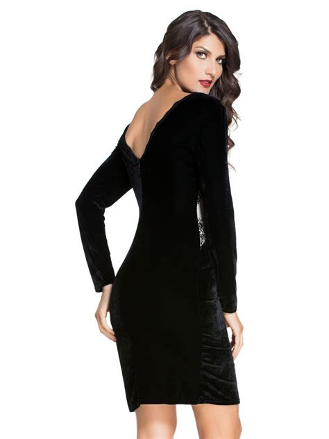 Sleeve Velvet Dress black sleeve velvet midi dress e60692 cilory