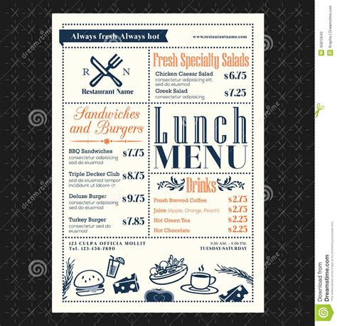 retro frame restaurant lunch menu design layout 45815640