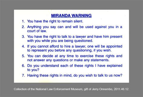 printable rights card national law enforcement officers memorial fund miranda