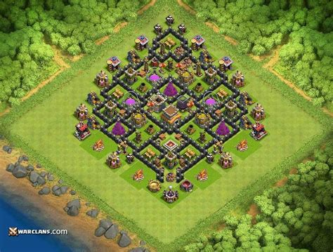 layout coc th8 defense base th8 th8 clash of clans defensive base