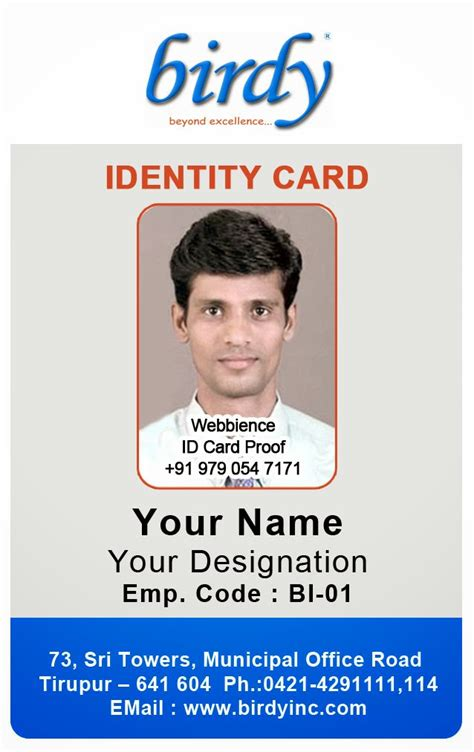 Employee Id Card Template by Id Card Coimbatore Ph 97905 47171 Vertical Employee