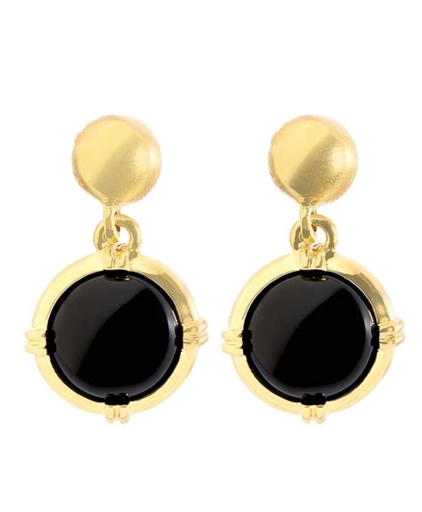 gold and black button drop earrings bb au ecommerce