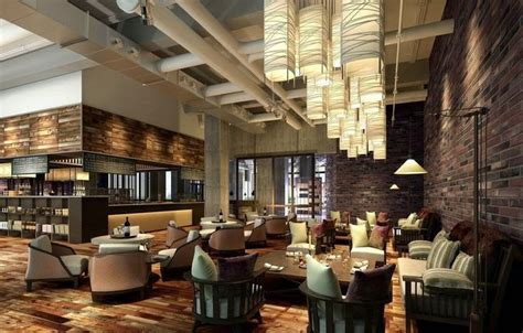 wooden decor for restaurant 3d model modern restaurant interior brick walls wooden 1
