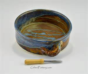 Handmade Stoneware Pottery - handmade stoneware brie baker blue brown gifted pottery