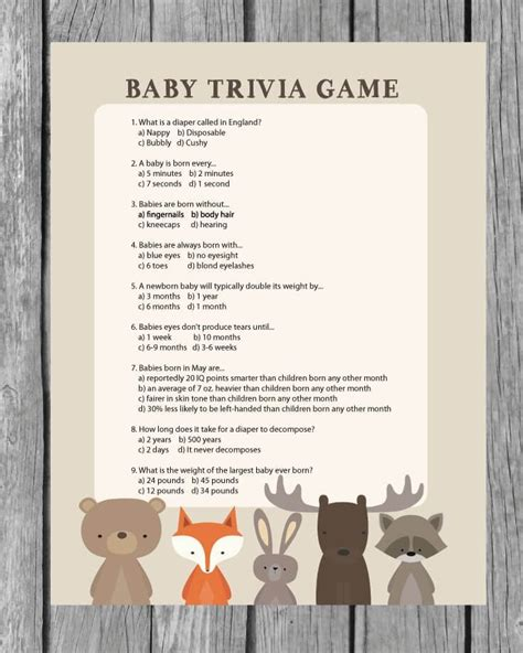 printable animal trivia printable baby shower trivia game woodland animal theme
