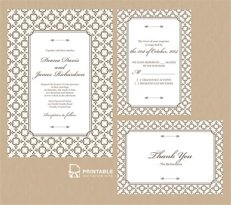 printable invitation kits stately frame invitation set wedding invitation