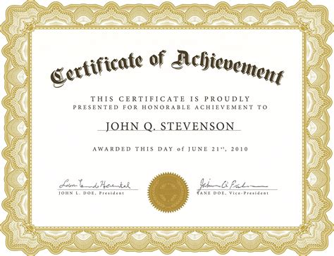 Formal Award Template Or Certificate Of Achievement Award