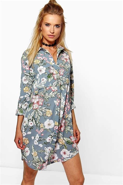 Shirt Dress Floral sindy floral shirt dress at boohoo