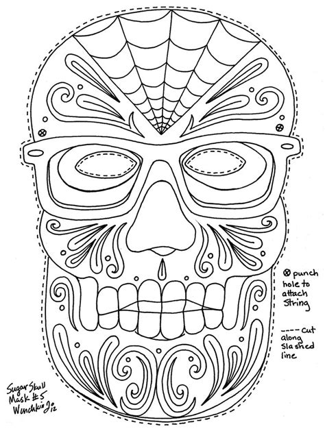 sugar skull masks or coloring pages printables