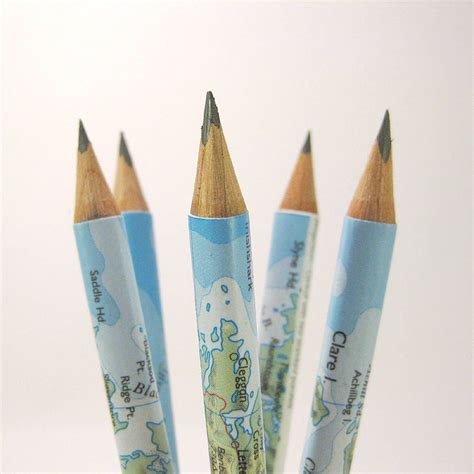 map pencils set of five map of ireland pencils by six0six design notonthehighstreet