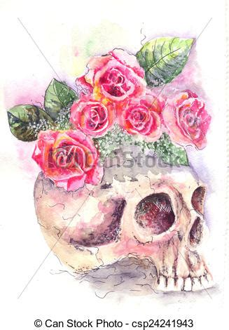 drawing of skull with roses water color from a skull