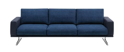 Sofas Carlton Blue Fabric Leather Combination 3 Seater Combination Leather And Fabric Sofas