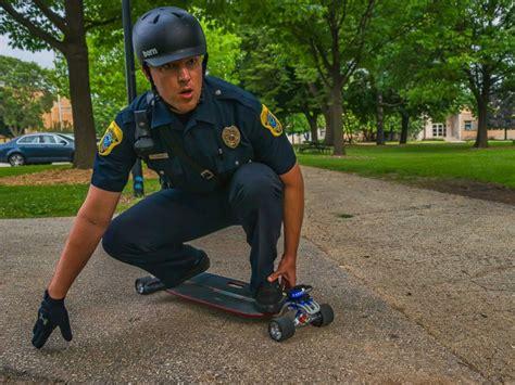 skateboard cop wants to barriers in green bay
