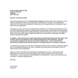Cover Letter For Administrative Assistant Position by Sle Administrative Assistant Cover Letter Template 8