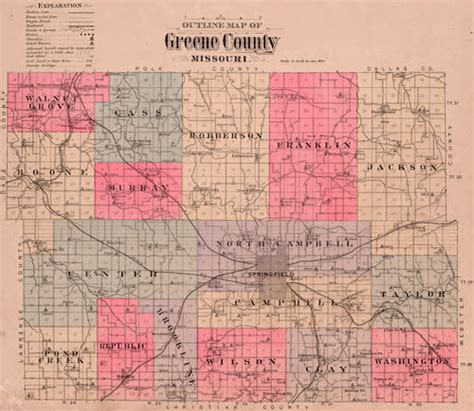 Greene County Mo Records Greene County Missouri 1904 Historical Map Reprint Townships