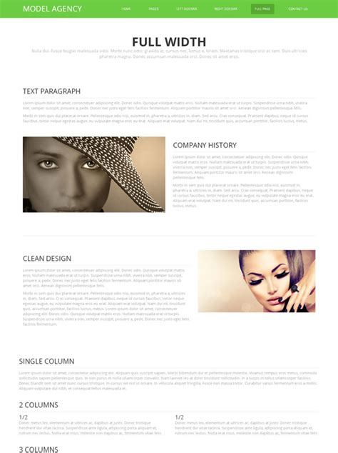 Promotional Modeling Website Template Model Agency Model Agency Template
