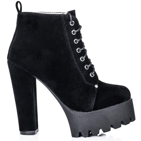 buy remix cleated sole platform ankle boots black suede