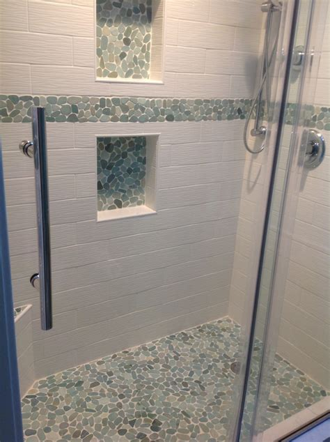 bathroom shower floor tile sliced sea green pebble tile shower floor and niche