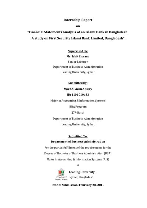 Mba 606 Managerial Finance Financial Analysis Report by Internship Report On Financial Statements Analysis Of