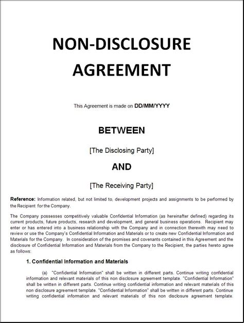 non disclosure contract template lea s sound bites