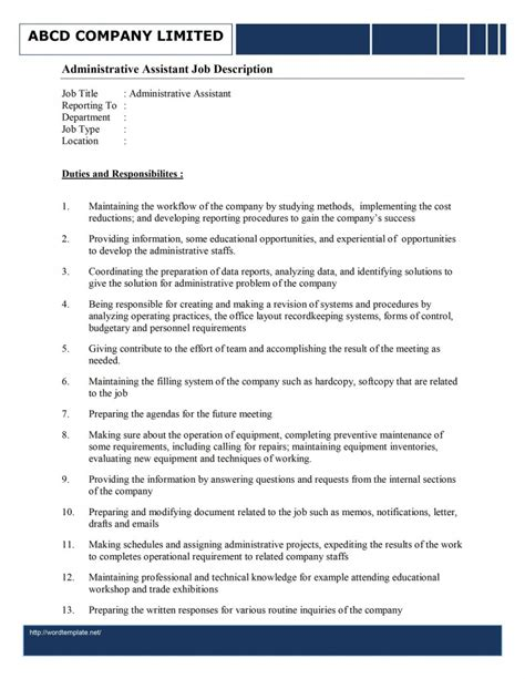 executive assistant templates administrative assistant description template