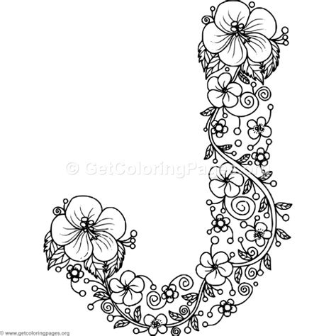 Letter J Coloring Pages For Adults by Floral Alphabet Letter J Coloring Pages Getcoloringpages Org