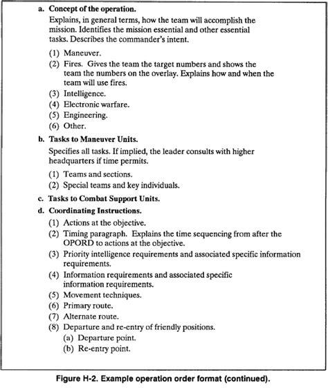 operations order template fm 7 93 appendix h