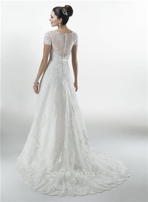 Sleeve Bow A Line Dress princess a line sweetheart vintage lace wedding dress with