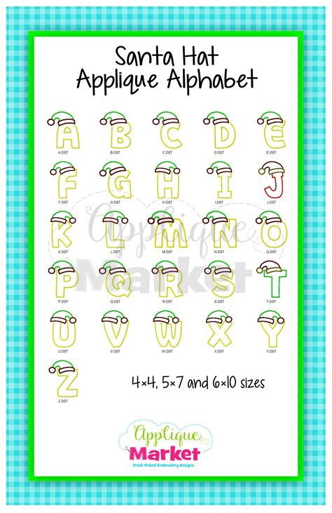 printable alphabet hats santa hat applique alphabet