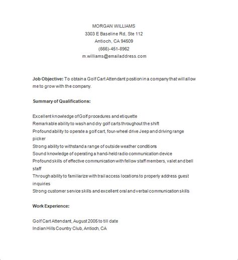 golf caddy resume template 8 free sles exles